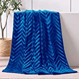 Whale Flotilla Flannel Fleece Throw Size(50x60 Inch) Lightweight Throw Blanket for Couch, Soft Velvet Throw Plush Fluffy Blanket with Decorative Chevron Design, Royal Blue