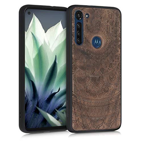 kwmobile Bumper Schutzhülle kompatibel mit Motorola Moto G8 Power - Holz Hülle Handy Case Cover Walnussholz Indische Sonne Dunkelbraun