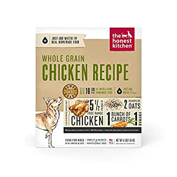 The Honest Kitchen Human Grade Dehydrated Whole Grain Dog Food – Complete Meal or Dog Food Topper – Chicken 4 lb  makes 16 lbs