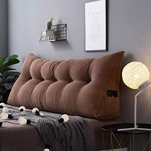 WLVG Almohada de lectura de color sólido extraíble lavable, suave, almohada de apoyo de posicionamiento, almohada de respaldo, almohada de 180 x 20 x 50 cm
