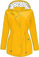 FRENDLY✲✲ Women Solid Rain Jacket Outdoor Plus Waterproof Hooded Raincoat Windproof Long Sleeve Lightweight Outwear