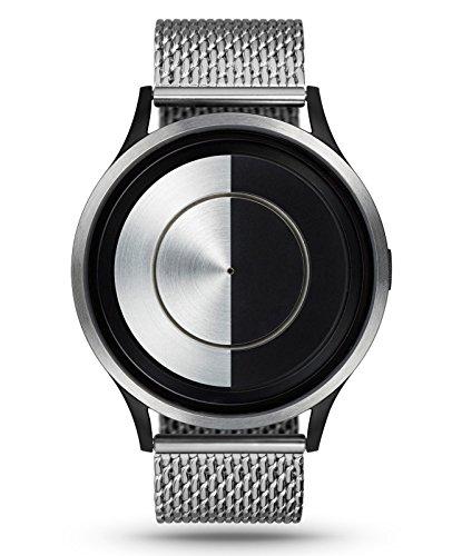 ZIIIRO Lunar Chrome Metallic schwarz Silber Unisex Armbanduhr Analog Quarz minimalistische Designer Uhr Halbmond
