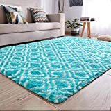 YJ.GWL Fluffy Area Rugs for Bedroom Living Room Shaggy Patterned Nursery Carpets for Girls Kids Teen's Room Fuzzy Floor Carpets Home Decor Rugs 4' x 5.9' Blue Trellis 2