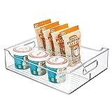 mDesign Contenitore Freezer con Manici – Portaoggetti frigo Lungo Diviso in Due per cibi cotti o confezionati – Contenitore Alimenti in plastica per Cucina o Frigorifero – Trasparente