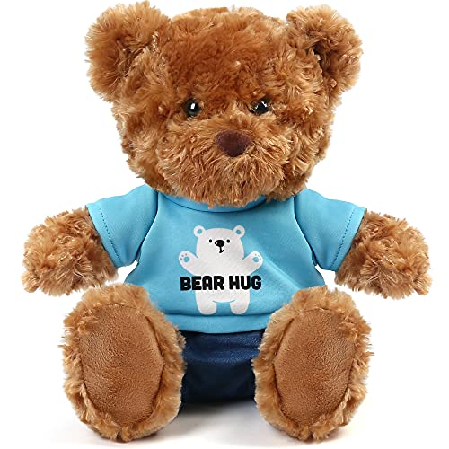 10 Inch Brown Teddy Bear Stuffed Animal with Clothes, Cute Baby Boy Bear Plush, Toy for Kids, Baby Shower Decoration