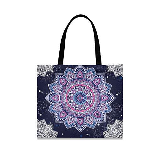 RURUTONG Mandala Boho Bolsa de lona para mujeres y niñas, misterioso estilo indio, magnífico tótem bien hecho multiusos reutilizable de la compra de la playa 2010033