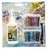 folia 589 - Glitterset Flocken, bestehend aus Bastelkleber und 10 Dosen Glitter-Streuteile, farbig sortiert - ideal zum Verzieren Ihrer Bastelarbeiten, Grußkarten, Scrapbooking, und vielem...