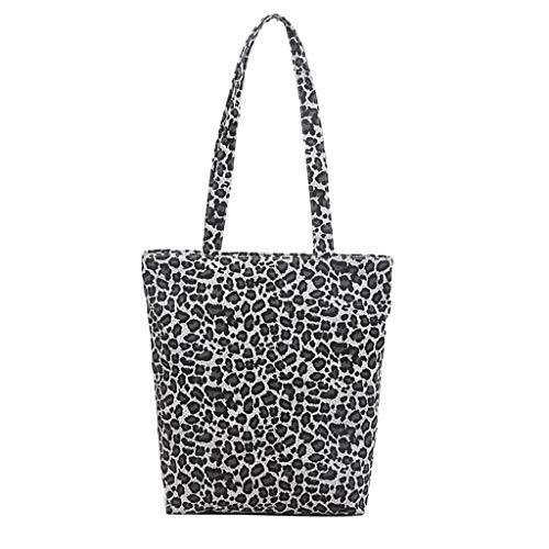 Linkay Neuer HeißEr Verkauf Mode Wild Damen Canvas Messenger Tasche Handtasche Leopard Drucken UmhäNgetasche Rucksack-Grau