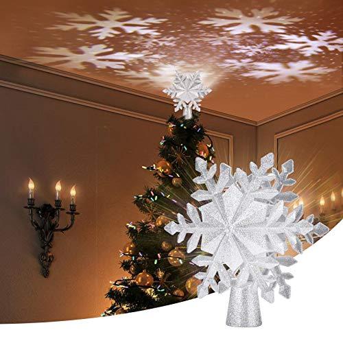Apatner Weihnachtsbaumspitze beleuchtet mit rotierendem LED-Schneeflocken-Projektor, 3D-Schnee-Weihnachtsbaumspitze, Weihnachtskugeln für Christbaumschmuck, Dekorationen