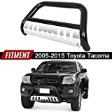 ECOTRIC Bull Bar Compatible With 2005-2015 Tacoma - Stainless 3' Tube Brush Push Grille Guard Front Bumper (Black)