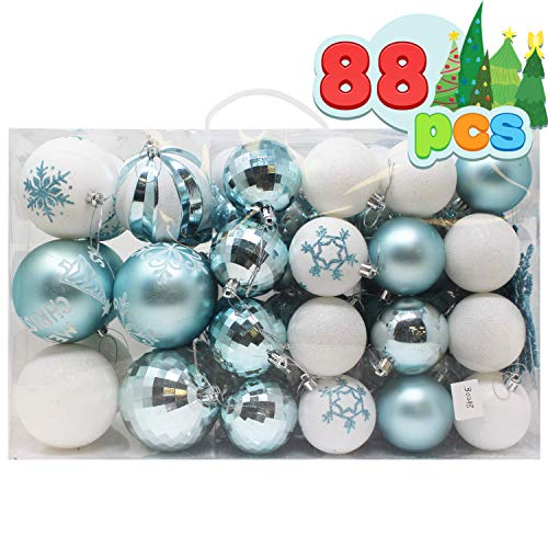 Joiedomi 88 Pcs Christmas Ornaments, Assorted Shatterproof Christmas Ornaments for Holidays, Indoor/Outdoor Party Decoration, Tree Ornaments, and Events (Blue&White)