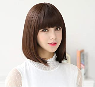 WYFDSG Short Hair Bobo Hair Type Wave Head Korean Fake Hair Fashion Hair Set Net Red with The Same Red Red - Dark Brown