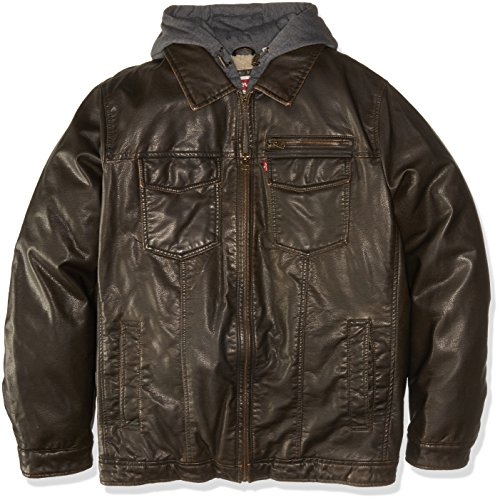 Levi's Men's Vintage Deer Faux Leather Sherpa Lined Trucker Hooded Jacket (Regular and Big Sizes), Deep Dark Brown, 3X-Large Tall