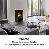Klarstein Bergamo Elektrischer Kamin, 2 Heizstufen: 900/1800 W, Thermostat, dimmbare, realistische Flammenillusion: unabhängiger LED-Flammeneffekt mit Resin-Holzscheiten, Holzoptik, schwarz - 5