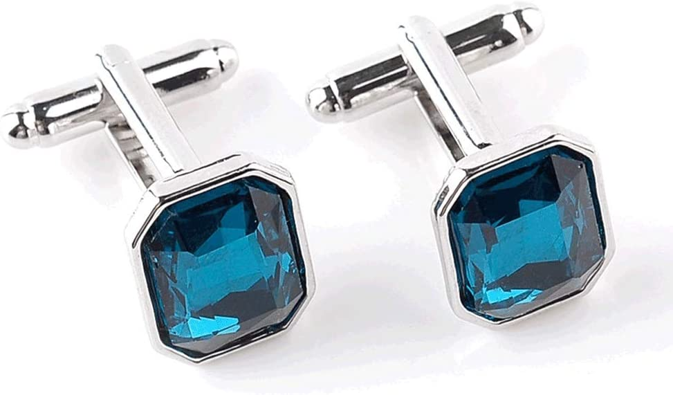 ZZABC Fashion Men's Blue Crystal Business Cufflinks Classic Wedding Charm Jewelry Trendy French Shirts Casual Cuff Links Button