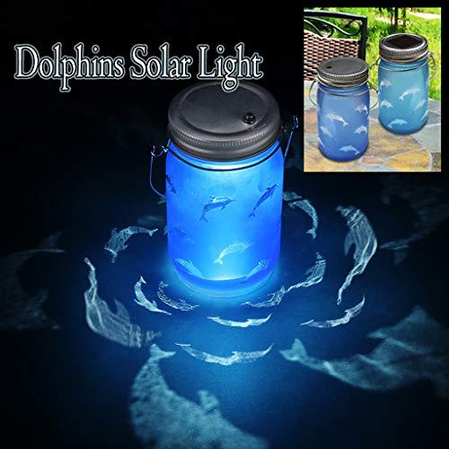 Veilleuse Projecteur, Projection d'ombre de dauphin 360° Rotation Patio solaire de veilleuse de bouteille de lumière pour Bébé Lampe Chevet Romantique Décoration Cadeau (Blue, Alimenté par batterie)