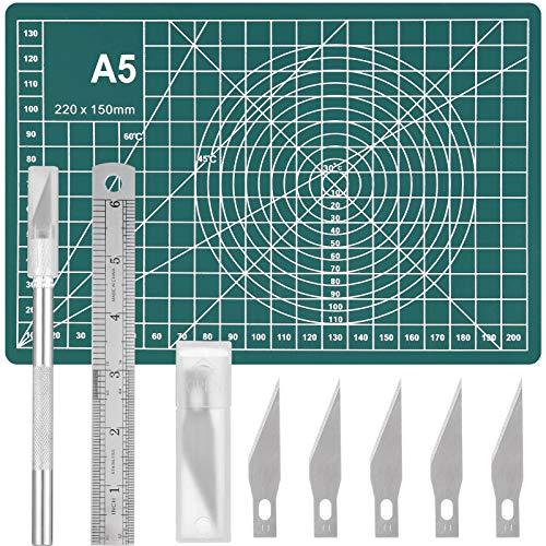 Aoliandatong Precision Carving Craft Hobby Messer Kit Enthält 1 skalpell basteln mit 5 Ersatzklingen, 1 Schneidebrett 1 Stahllineal, Bastelmesser Kit für DIY Art Work Caving