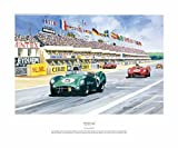 Shelby Revs It Up- Le Mans Racing Print Autographed By Carroll Shelby