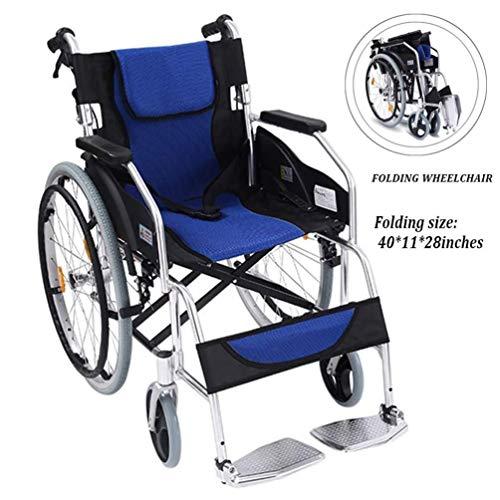 Silla de ruedas autopropulsada plegable ligera Aleación de aluminio Sillas de ruedas son de peso ligero, portátil silla de ruedas manual con las personas mayores Aseo Trolley / minusválidos Médica Asi