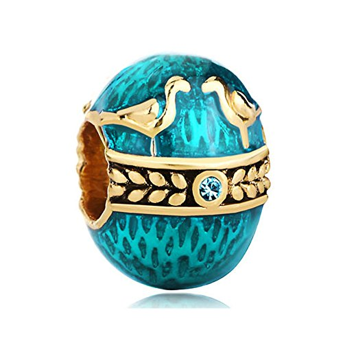 LovelyJewelry Faberge Egg Charms Blue Couple Birds Love Beads for Bracelet