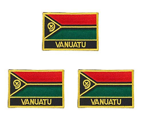 Vanuatu Aufnäher, bestickt, Flagge, Emblem, zum Aufbügeln oder Aufnähen, 3 Stück