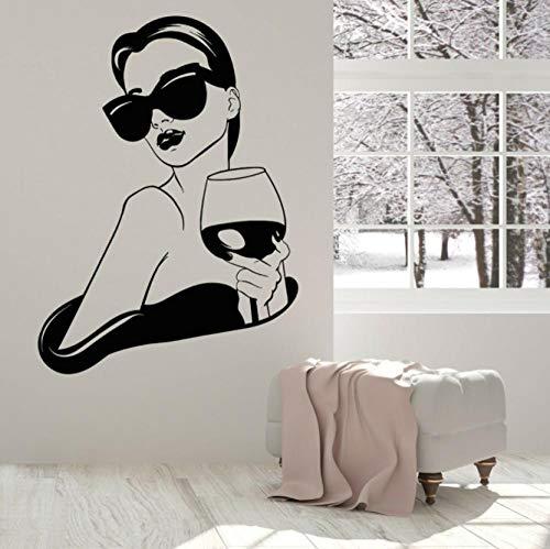 Calcomanía de vinilo para pared de chica sexy para chica, dama de moda con copa de vino, letrero para bar, bebida, cocina, sala de estar, decoración 58x42cm