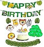 37pcs Jungle Birthday Party Deco - Bannière joyeux anniversaire animaux, Cake Toppers, feuilles tropicales, ballon en aluminium et ballons en latex pour fête sur le thème de la fête de naissance
