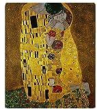 XZDPPTBLN Mantas de Franela Súper Suave de Lana Beso de Pintura Famosa Amarilla Mantas con Estampados Esponjosa y Cálida Mantas para la Cama y el Sofá 70cm x 100cm
