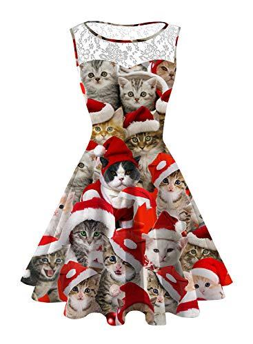 NEWISTAR Frauen Weihnachten Cocktailkleid Ärmellos Swing Kleider Große Größen Rockabilly Abendkleider Faltenrock Kleid
