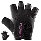 Contraband Pink Label 5137 Women's Padded Weight Lifting and Rowing Gloves w/ Grip-Lock Padding (Pair) - Machine Washable Fingerless Workout Gloves Designed Specifically for Women