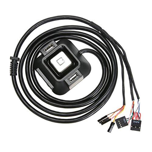 Zinniaya Computadora de Escritorio PC Fuente de alimentación Encendido/Apagado de la Caja Botón de reinicio Interruptor del Bloque de Cable Extensor con Doble USB Conector de Audio de Doble Puerto