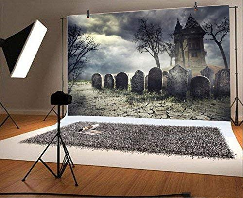 Baocicco Halloween Gloomy Tombstone Haunted House Backdrop 7x5ft Photography Background Creepy Night Scary Forest Spooky Party