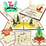 Biglietti di Natale, T antrix 3d pop up biglietti di auguri di Natale regalo per Natale/Capodanno di 5carte e buste
