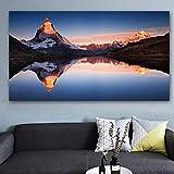 NIMCG Paysage Montagne Eau Affiche Imprimé Mur Peinture Toile Art Mur Photos pour...