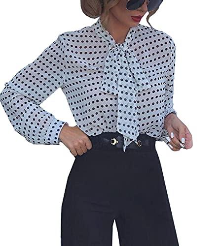WangsCanis - Camisa para mujer de verano y otoño con lazo, manga larga con lunares, blanco, XXL