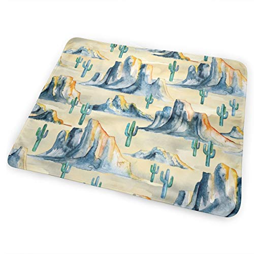 Sunset Desert Mountains With Cacti In Watercolor Small Bed Pad Washable Waterproof Urine Pads for Baby Toddler Children and Adults 31.5 X 25.5 inch