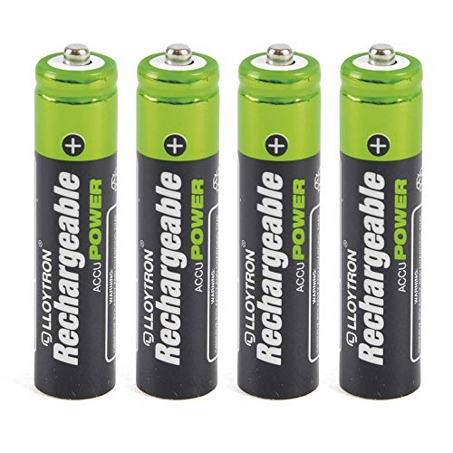LLOYTRON B014 - Confezione da 4 batterie AccuDigital AAA da 550mAh, in nichel-metalidrato (NiMH)