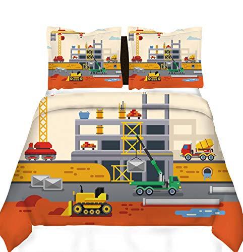 Loussiesd Bulldozer - Juego de ropa de cama para niños y niñas, diseño de dibujo animado, funda de edredón con 2 fundas de almohada de microfibra suave con cremallera de 3 piezas, bonito coche