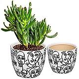 CODREAM Maceta de cerámica para plantas – Maceta artística de porcelana estable con maceta decorativa – Juego de 2 macetas blancas grandes 17 cm pequeña 14 cm