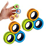 Chnaivy Magnetic Fidget Rings, 6 PCS Adult Finger Magnetic Ring Fidget Toy, Stress Relief Decompression Magical Ring Props Tools Funny Novelty Gifts Children Finger Fidget Toys for Boys Girls
