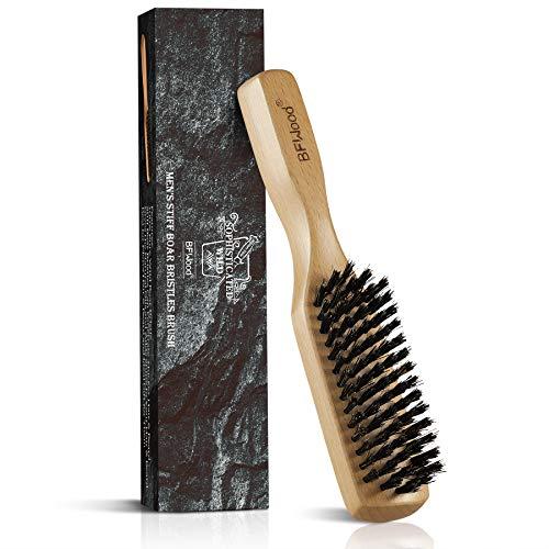 BFWood Stiff Boar Bristles Hair Brush for Men - Beech Handle