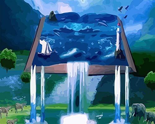 Cascada paisaje DIY pintura al óleo pinturas por números pintura acrílica dibujo sobre lienzo arte de pared pintado a mano decoración del hogar A2 40x50cm