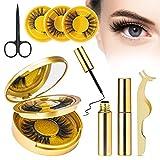 Pestañas postizas magnéticas naturales, 10 piezas de delineador de ojos magnético reutilizable hecho a mano con efecto 3D con 2 delineadores de ojos magnéticos, pinzas, tijeras