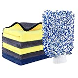 YINGJEE Kit de Limpieza para Coche, Kit de Herramientas de Lavado de Coche, Set Limpieza Coche, Toallas de Secado de Coches absorbentes con Manopla de Lavado, Paños de Limpieza Grandes de Microfibra