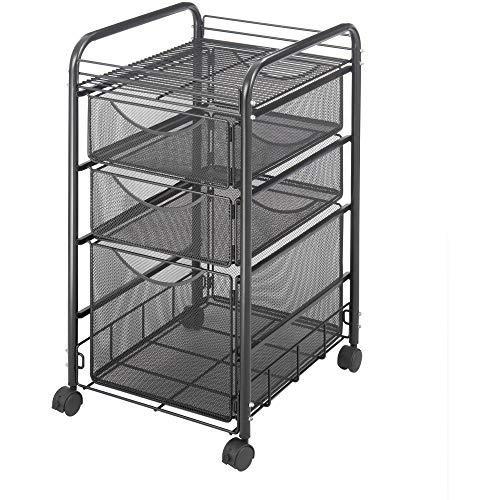 Safco Produkty Onyx Mesh 1 szuflada na dokumenty i 2 małe szuflady wózek na kółkach 5213BL, wykończenie czarnym lakierem proszkowym, trwała konstrukcja z siatki stalowej, kółka obrotowe dla mobilności