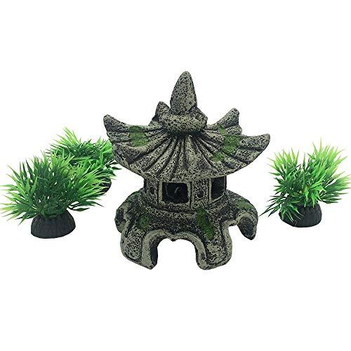 Smoothedo-Pets - Decoración de acuario para decoración de peces, tamaño pequeño, accesorios para escondites de peces asiáticos, jardín FengShui, color gris