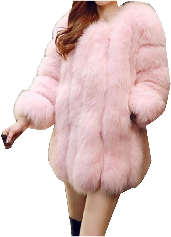 Cobama Women's Hairy Bridal Elegant Fluffy Faux Fur Short Coat Jacket