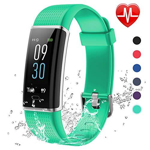 Lintelek Fitness Armband,Fitness Tracker mit Pulsmesser 0,96 Zoll Farbdisplay Fitness Uhr Armband Uhr Schlafmonitor Aktivitätstracker 14 Trainingsmodi Vibrationsalarm GPS (Gruen) MEHRWEG