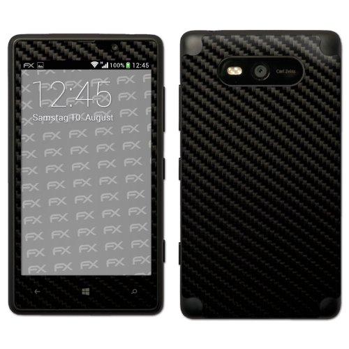 atFoliX FX-Carbon-Black - Skin para Nokia Lumia 820, color negro