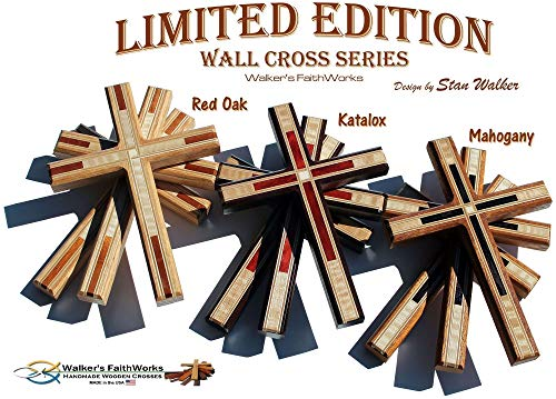 """Decorative 8.5"""" Tall Wood Wall Crosses:""""Limited Edition Wooden Christian Wall Cross Series"""" - USA MADE!"""